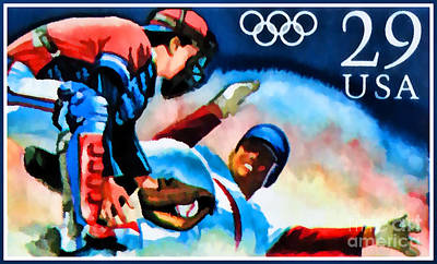 Olympic Hockey Painting - 29c Olympic Baseball by Lanjee Chee