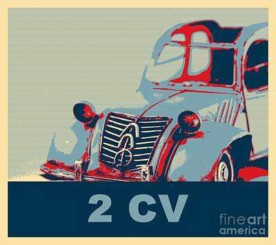 2cv Digital Art - 2cv French Design Iconic Car Pop Art by Heidi De Leeuw