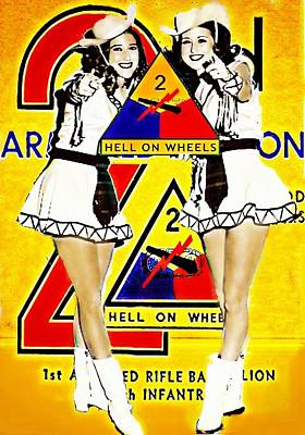Digital Art - 2nd Armored Division Hell On Wheels Poster Girls by Carrie OBrien Sibley