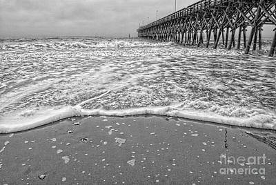 Mixed Media - 2nd Ave Pier Myrtle Beach Sc Bw by Bob Pardue