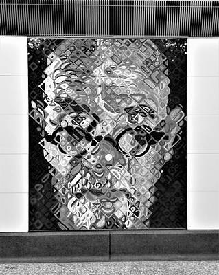Photograph - 2nd Ave Subway Art Chuck Close B W by Rob Hans