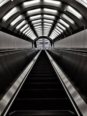 Photograph - 2nd Ave Subway Art Escalator B W 1 by Rob Hans