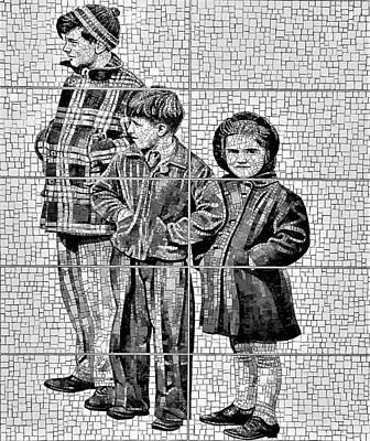 Photograph - 2nd Ave Subway Art Old Timers B W by Rob Hans