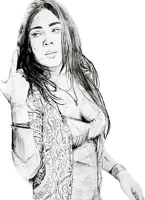 Transformer Drawing - 2nd Megan Fox by Benjamin McDaniel