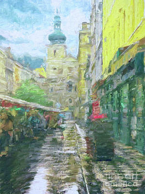 Photograph - 2nd Work Of The Market In The Rain - Prague by Leigh Kemp