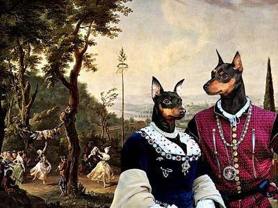 Painting -  Miniature Pinscher Art Canvas Print  by Sandra Sij