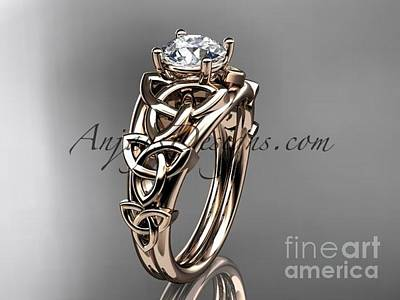 Jewelry - 14kt White Gold Celtic Trinity Knot Engagement Ring , Wedding Ring Ct765 by AnjaysDesigns com