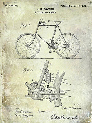 Dale Digital Art - 1893 Bicycle Patent by Jon Neidert