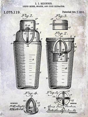 Martini Shaker Photograph - 1913 Cocktail Shaker Patent by Jon Neidert