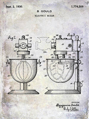 Beaters Photograph - 1930 Electric Mixer Patent by Jon Neidert