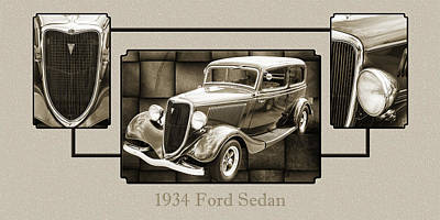 Photograph - 1934 Ford Sedan Antique Vintage Photograph Fine Art Print Collec by M K  Miller