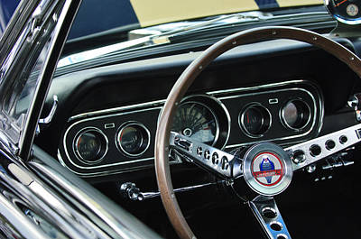Cobra Photograph - 1966 Ford Mustang Cobra Steering Wheel by Jill Reger