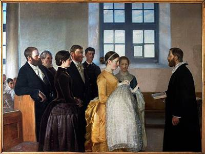 Baptism Painting - A Baptism  by Michael Ancher