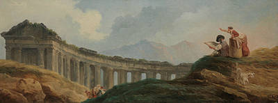 Painting - A Colonnade In Ruins by Hubert Robert