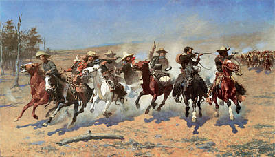 Animals Photos - A Dash for the Timber by Frederic Remington