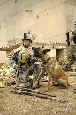 A Dog Handler And His Military Working Art Print by Stocktrek Images