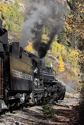 Photograph - A Durango And Silverton Narrow Gauge Scenic Railroad Train Chugs Through The San Juan Mountains by Carol M Highsmith