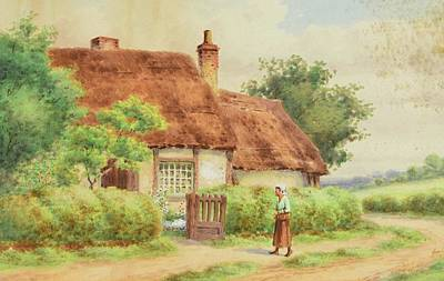 Gate Painting - A Figure Approaching An Open Gate To A Thatched Cottage by John Henry