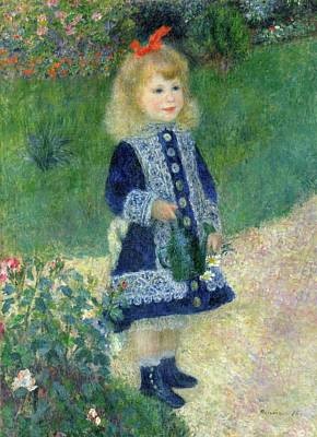 Park Scene Painting - A Girl With A Watering Can by Pierre-Auguste Renoir