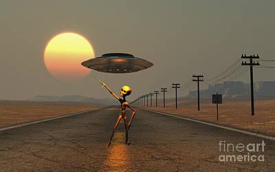 A Grey Alien Hitching A Ride Art Print by Mark Stevenson