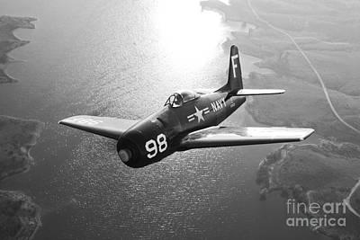A Grumman F8f Bearcat In Flight Print by Scott Germain