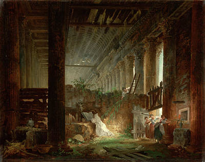Praying Painting - A Hermit Praying In The Ruins Of A Roman Temple by Hubert Robert
