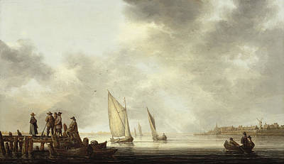 Painting - A Pier In Dordrecht Harbor by Aelbert Cuyp