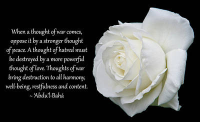 Photograph - A Thought Of Peace by Baha'i Writings As Art