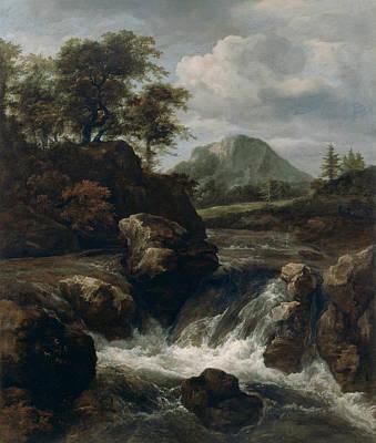Painting - A Waterfall by Jacob van Ruisdael