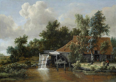 Open-air Painting - A Watermill by Meindert Hobbema