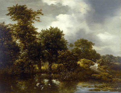 Pond Painting - A Wooded Landscape With A Pond by Jacob van Ruisdael