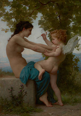 Super Girl Painting - A Young Girl Defending Herself Against Eros by William-Adolphe Bouguereau