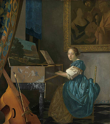 Johannes Vermeer Wall Art - Painting - A Young Woman Seated At A Virginal by Johannes Vermeer