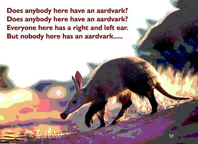 Mixed Media - Aardvark by Charles Shoup