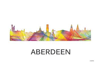 Digital Art - Aberdeen Scotland Skyline by Marlene Watson