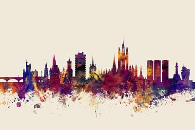 Aberdeen Scotland Skyline Art Print by Michael Tompsett