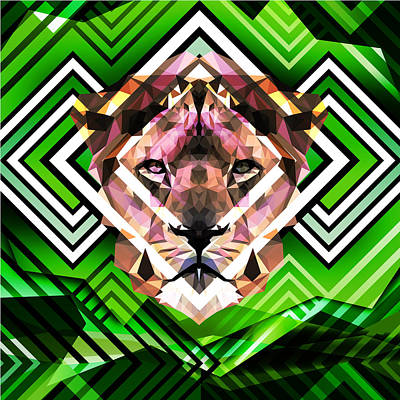 Vivid Digital Art - Abstract Lion by Gallini Design