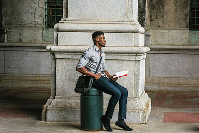 Photograph - African American College Student Studying In New York by Alexander Image