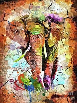 Mixed Media - African Elephant by Daniel Janda
