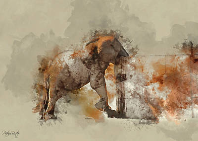 Digital Art - African Elephant by Petrus Bester