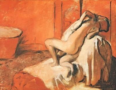 On Paper Pastel - After The Bath by Edgar Degas