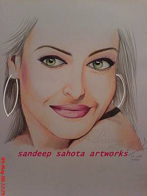 Muslims Of The World Drawing - Aishwariya Rai Bachchan by Sandeep Kumar Sahota