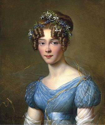Dubois Painting - Amelie Du Bois In A Blue Dress by Jean Dubois