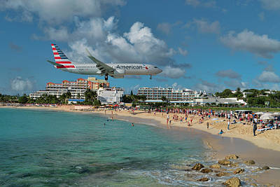 Photograph - American Airlines At St. Maarten by David Gleeson