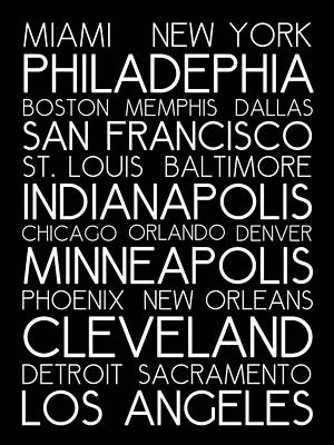 Landmarks Royalty Free Images - American Cities in Bus Roll Destination Map Style Poster Royalty-Free Image by Celestial Images