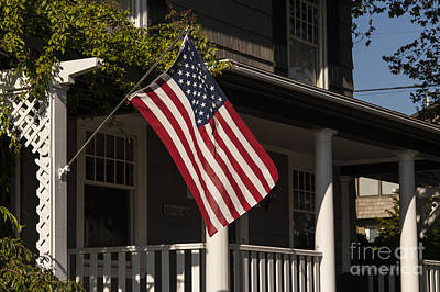 Photograph - American Flag On Porch by Jim Corwin