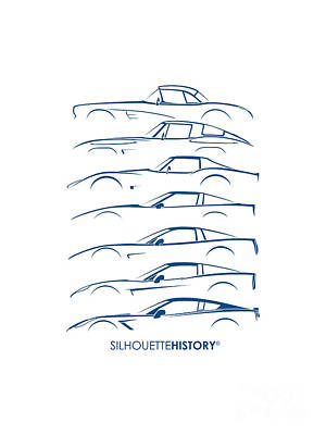 Art Car Digital Art - American Sports Car Silhouettehistory by Gabor Vida