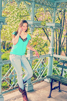 Photograph - American Teenage Girl Talking On Cell Phone At Central Park, New by Alexander Image