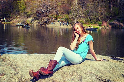 Photograph - American Teenage Girl Talking On Cell Phone By Lake At Central P by Alexander Image