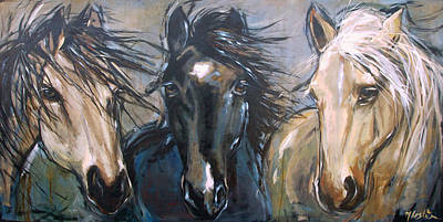 Indian Pony Painting - 3 Amigos by Mary Leslie